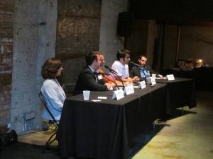 Panelists Claire Weston, Joseph Jackseon, Ethan Perlstein, Ryan Bethencourt, and moderator Jamie Bacher at SDBN's June 24th event.