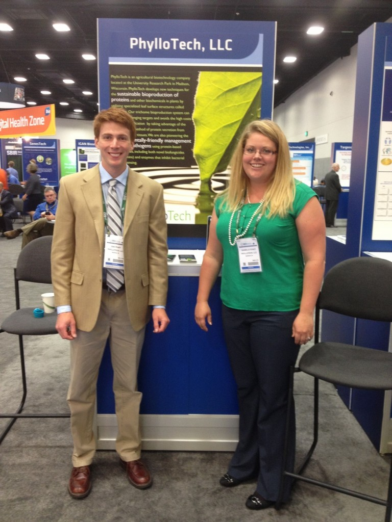 Image 2: Daniel Pfaff (left) and Danielle M. Stacy, PhD (right) present their company, PhylloTech, at #BIO2014 Innovation Zone.